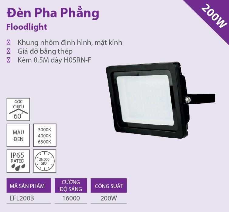 Đèn LED Floodlight phẳng 200W EFL200B65