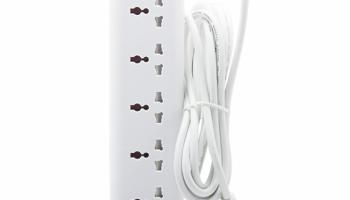 Ổ cắm MASTERPLUG E4030U: 4 lỗ, 3 chấu UNIVERSE, 2 cổng SMART USB tự điều chỉnh dòng điện